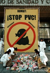 Greenpeace action against PVC toys in front of Spanish Health Ministry. Madrid, Spain